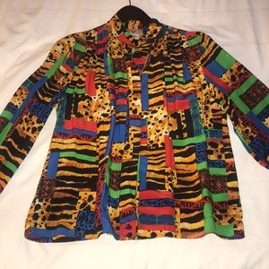 Vintage Color blocking spring summer blouse